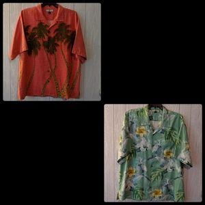 EUC 2 Tommy Bahama silk Hawaiian shirts sz XL